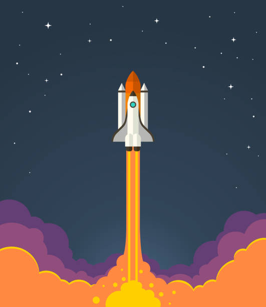 Space rocket launch. Vector illustration of starting space rocket with smoke clouds on dark night sky background. rocket stock illustrations