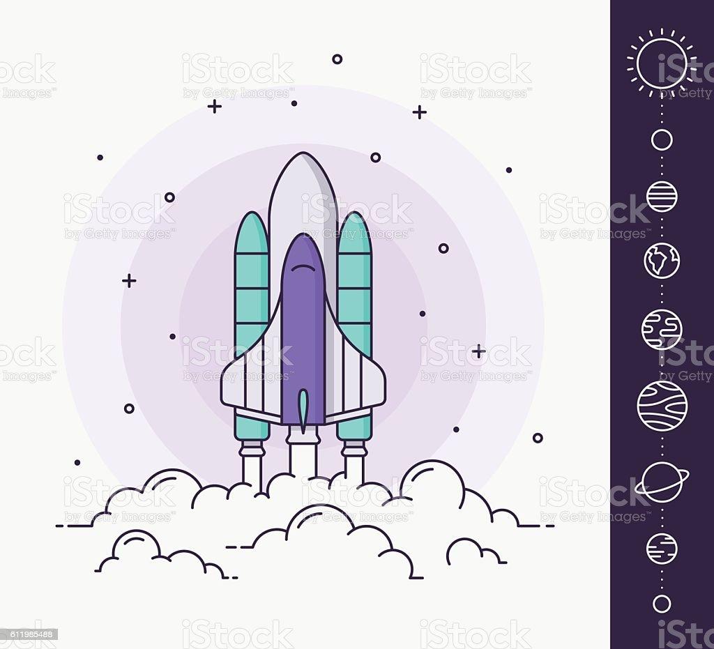 Space rocket launch. Vector illustration vector art illustration