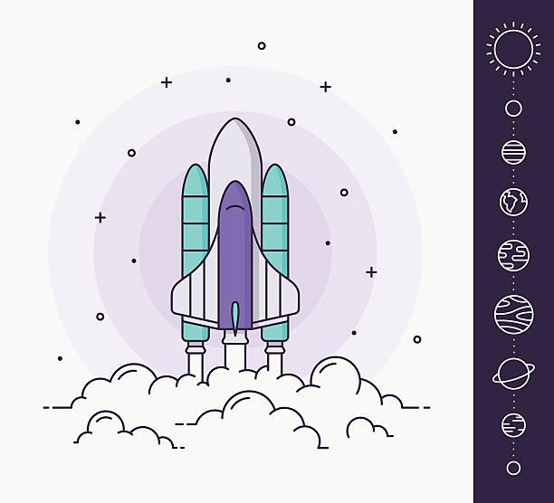 raum rakete einführung. vektor-illustration - erforschung des weltalls stock-grafiken, -clipart, -cartoons und -symbole