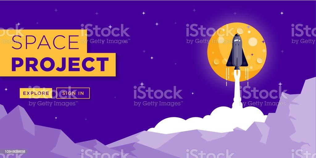 Space Rocket Launching Web Site Banner Design Stock Illustration