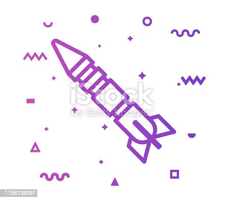 Space rocket outline style icon design with decorations and gradient color. Line vector icon illustration for modern infographics, mobile designs and web banners.