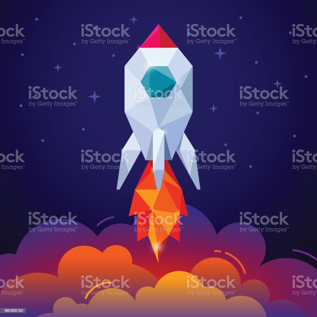 Space rocket on dark blue sky vector art illustration