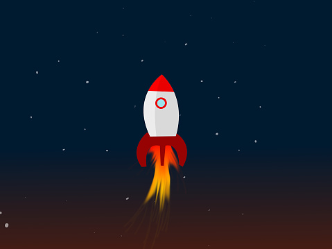 Space rocket or spaceship, leaving the earth to explore into space