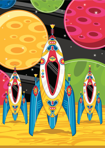 Space Rocket Ships on Planet