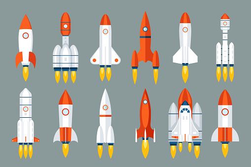 Space rocket start up launch symbol innovation development technology flat design icons set template vector illustration