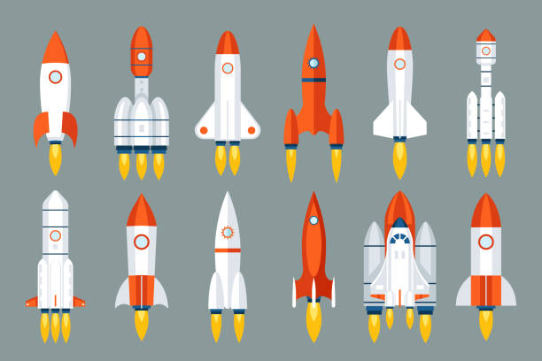 illustrations, cliparts, dessins animés et icônes de espace fusée démarrage lancement symbole innovation développement technologie design plat icônes modèle set vector illustration - rocket