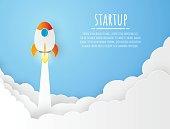 Space rocket vector illustration background papercut modern design of Startup project concept. Business flat design vector.