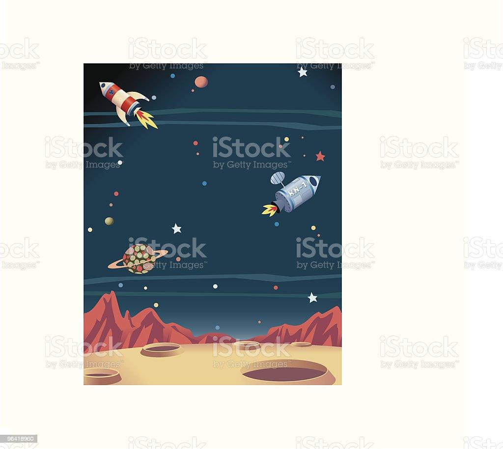 Space + Rockets vector art illustration