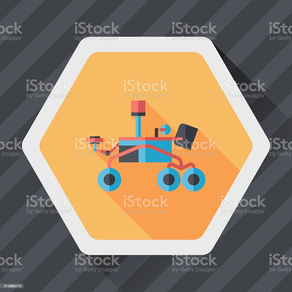 Space Rover flat icon with long shadow,eps10 vector art illustration
