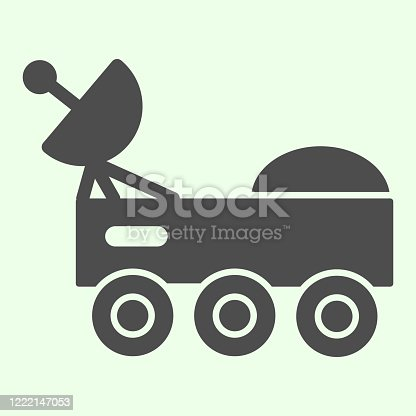 istock Space rover with radio telescope solid icon. Space explorer car glyph style pictogram on white background. Universe and cosmos signs for mobile concept and web design. Vector graphics. 1222147053