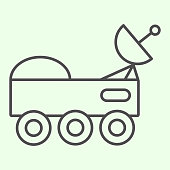 istock Space rover with radio telescope thin line icon. Space explorer car outline style pictogram on white background. Universe and cosmos signs for mobile concept and web design. Vector graphics. 1222147052