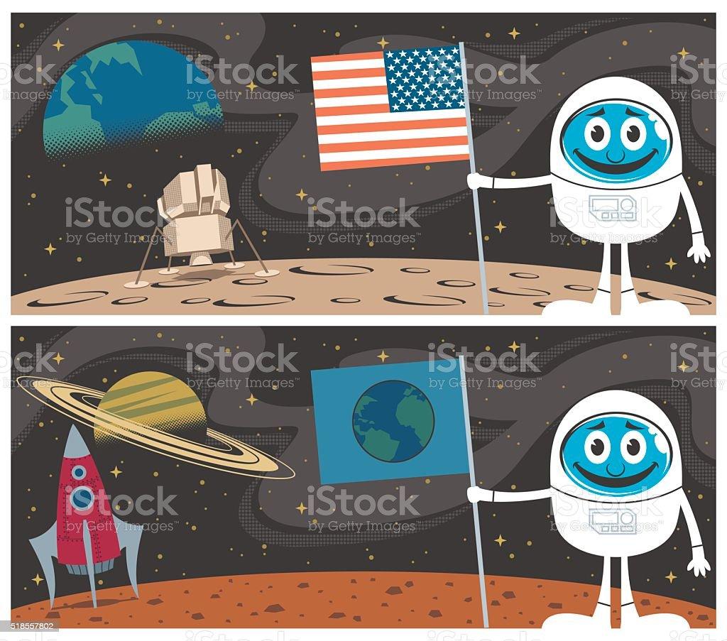 Space Scenes vector art illustration