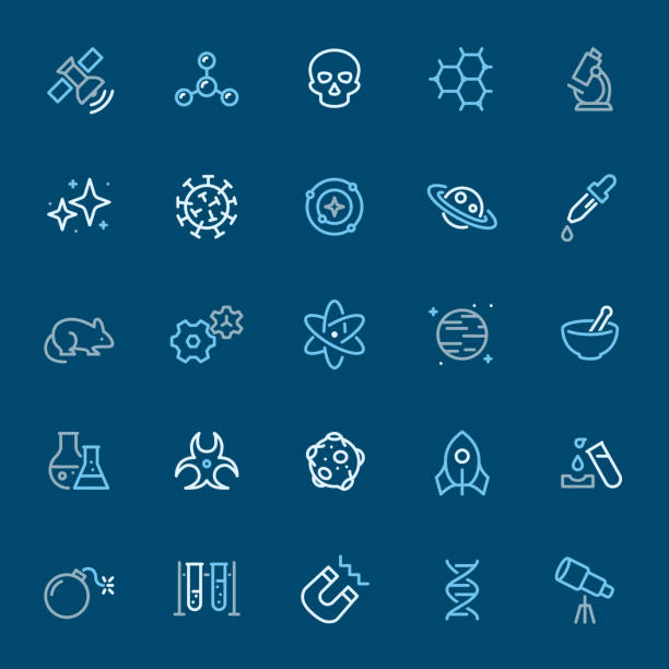 Space & Science - color outline icons Space & Science - 25 Outline Style - Pixel Perfect Tricolor - Icons Set #17 / Icons are designed in 48x48pх square, outline stroke 2px.  First row of outline icons contains: Satellite, Molecule, Skull, Molecular Shape, Microscope;  Second row contains: Star - Space, Virus, Solar System, Saturn, Pipette;  Third row contains: Mouse, Gears, Atom, Planet - Space, Mortar & Pestle;  Fourth row contains: Flask, Biohazard, Moon, Rocket, Corrosive;  Fifth row contains: Bomb, Vial, Magnet, DNA, Telescope.  Complete Navico icons collection - https://www.istockphoto.com/collaboration/boards/b3OZ01lhT0eMQOsbbTYVyQ biohazard symbol stock illustrations