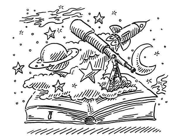 Space Science Open Book Concept Drawing Hand-drawn vector drawing of a Space Science Open Book Concept, with a Telescope, Stars, Planet Saturn, Rocket, Milky Way and Moon. Black-and-White sketch on a transparent background (.eps-file). Included files are EPS (v10) and Hi-Res JPG. transportation stock illustrations