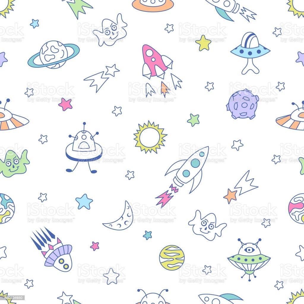 Ilustración de Patrón Sin Fisuras De Espacio Lindos Aliens Ufo Luna ...