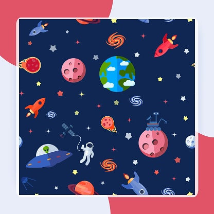 Space Seamless Pattern vector design
