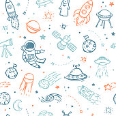 Seamless pattern made of hand drawn doodles - UFO's, aliens, planets and spacecrafts.