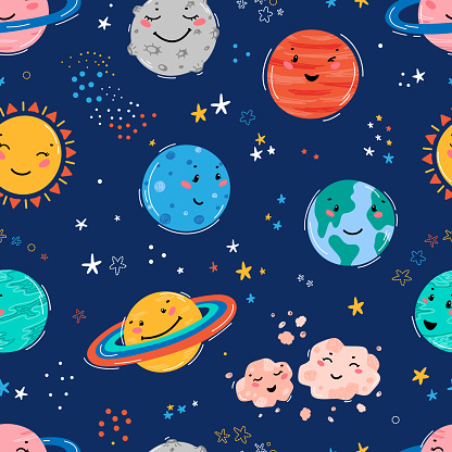 Space Seamless Pattern with Planets Solar System, Sun, Meteorite and Stars. Doodle Cartoon Cute Planet Smiling Face. Space Vector Background for Kids t-shirt Print, Nursery Design, Birthday Party