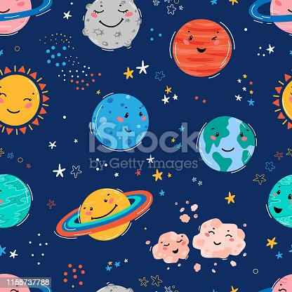 istock Space Seamless Pattern with Planets Solar System, Sun, Meteorite and Stars. Doodle Cartoon Cute Planet Smiling Face. Space Vector Background for Kids t-shirt Print, Nursery Design, Birthday Party 1155737788
