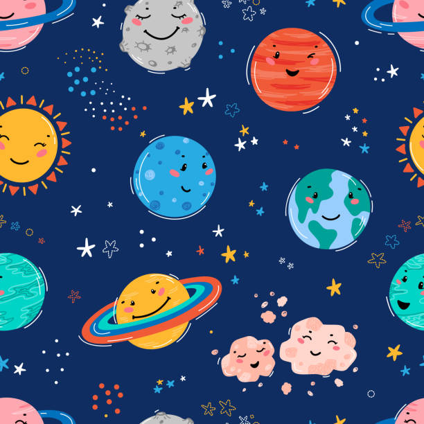 Space Seamless Pattern with Planets Solar System, Sun, Meteorite and Stars. Doodle Cartoon Cute Planet Smiling Face. Space Vector Background for Kids t-shirt Print, Nursery Design, Birthday Party Space Seamless Pattern with Planets Solar System, Sun, Meteorite and Stars. Doodle Cartoon Cute Planet Smiling Face. Space Vector Background for Kids t-shirt Print, Nursery Design, Birthday Party bedroom backgrounds stock illustrations
