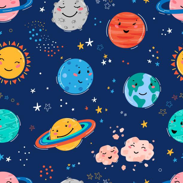 행성 태양계, 태양, 운석과 별 공간 원활한 패턴. 낙서 만화 귀여운 행성 웃는 얼굴입니다. 어린이 티셔츠 인쇄, 보육 디자인, 생일 파티를위한 공간 벡터 배경 - space background stock illustrations