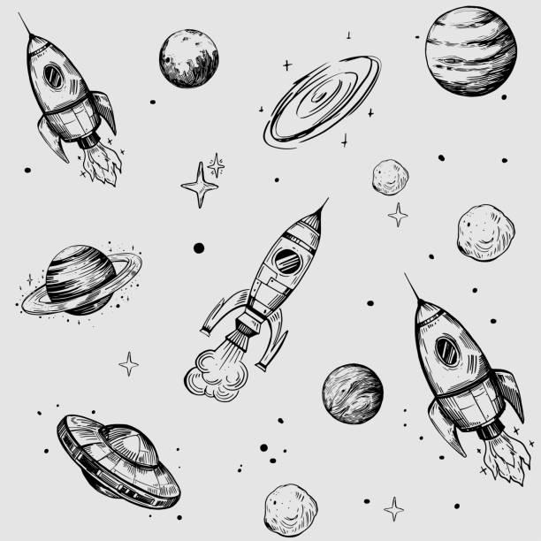 ilustrações, clipart, desenhos animados e ícones de padrão de espaço sem costura com planetas, estrelas, foguetes. esboço extraído mão convertido em vetor. - foguete espacial