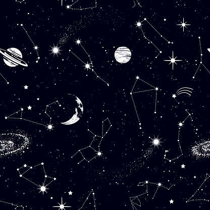 Space seamless pattern with zodiac constellations, galaxy, stars, planets in outer space. Texture for wallpapers, fabric, wrap, web page backgrounds, vector illustration