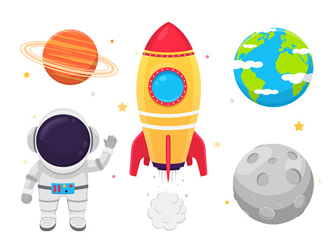 Space set astronaut in suit, rockets and planets on white background.