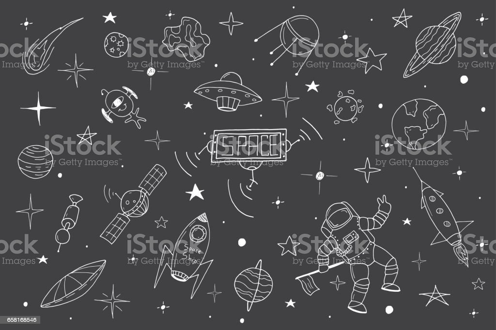 Space set in doodle style.Hand drawn vector art illustration