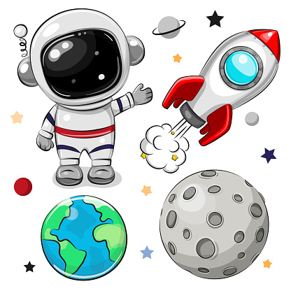 Space set of astronaut, rocket and planets