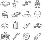 space set of line icons