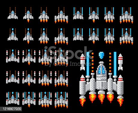 Space ship 8 bit pixel art video arcade game cartoon with lots of different weapon and engine upgrades