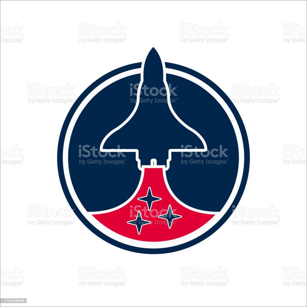 Beyaz arka plan üzerinde daire geometrik şekil uzay mekiği tasarımı - Royalty-free Animasyon karakter Vector Art