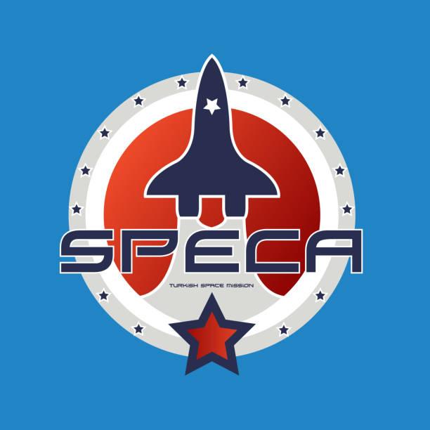 Mavi arka plan üzerinde Uzay Mekiği Tasarımı vektör sanat illüstrasyonu