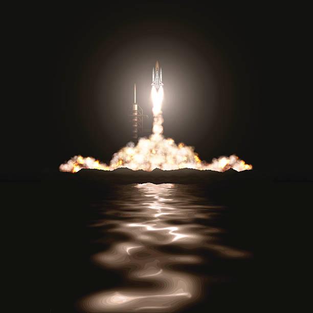 illustrations, cliparts, dessins animés et icônes de navette spatiale lancement - décoller activité