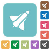Space shuttle white flat icons on color rounded square backgrounds