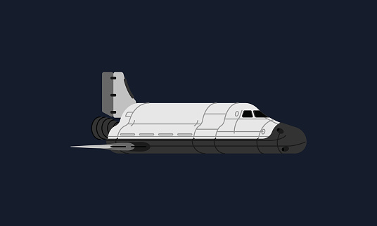 Space shuttle traveling in space, carrying important scientific experiment and crew in space and back to earth.