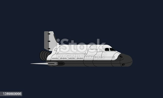 istock Space shuttle traveling in space, carrying important scientific experiment and crew in space and back to earth. 1289869995