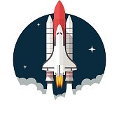 Space Shuttle, Flat design, vector illustration, isolated on white background