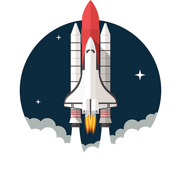 Space Shuttle Space Shuttle, Flat design, vector illustration, isolated on white background airport clipart stock illustrations