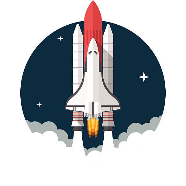 stockillustraties, clipart, cartoons en iconen met space shuttle - raket ruimteschip