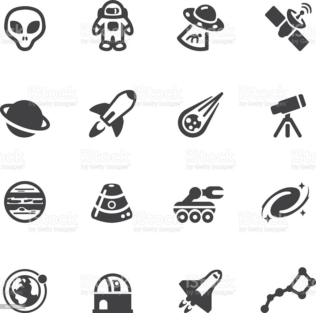 Space Silhouette icons vector art illustration
