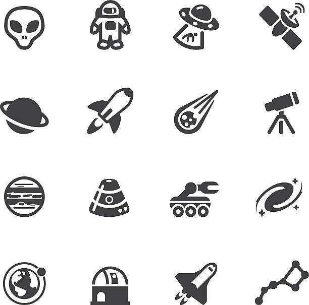 raum silhouette icons - sternwarte stock-grafiken, -clipart, -cartoons und -symbole