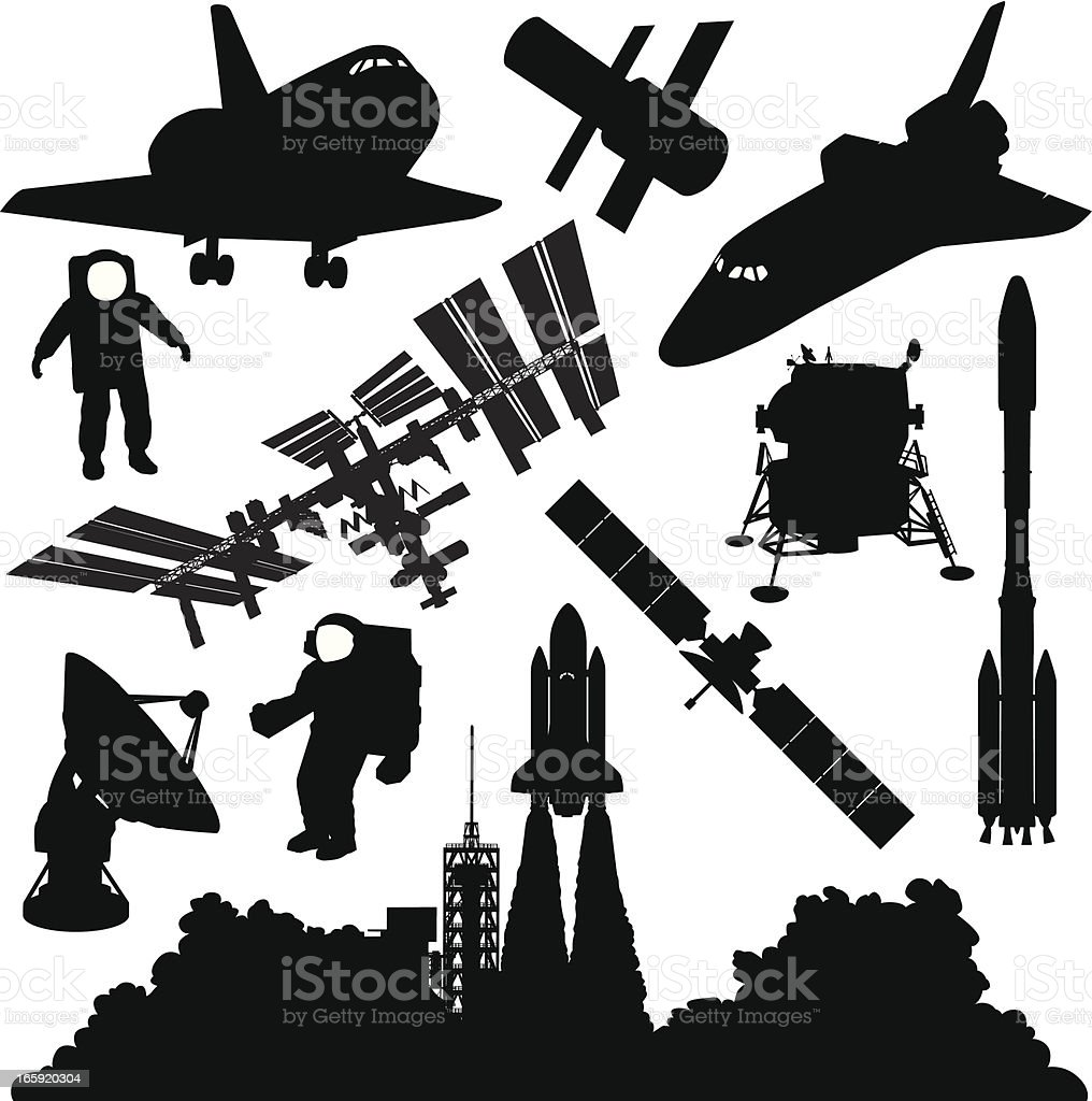 Space Silhouettes vector art illustration