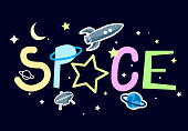 Space. Slogan graphic with rocket and space vector illustrations. For t-shirt or your design.