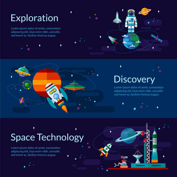 space, spaceship, astronaut, planets and ufo. - space exploration stock illustrations, clip art, cartoons, & icons
