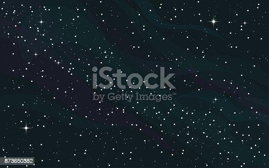 Cosmos space dark vector pattern. Round white dots on dark blue background. Blue clouds in the night. Galaxy Milky Way.
