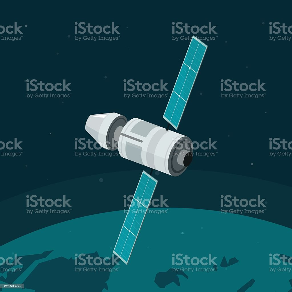 Space station flying on earth orbit vector, spaceship, cosmic ship space station flying on earth orbit vector spaceship cosmic ship - immagini vettoriali stock e altre immagini di a forma di stella royalty-free