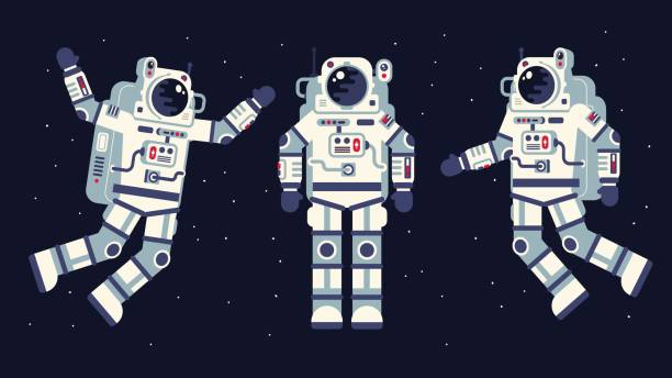 Space suit in different poses Space suit in different poses. Easy to edit. Flat style. astronaut floating in space stock illustrations