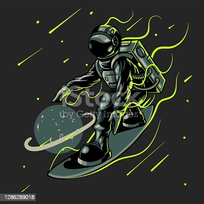 istock Space surfer astronaut vector illustration. Engraving cool dude on space surfboard surfing between stars planets galaxies. Good for t-shirt prints, posters and other uses 1286289018